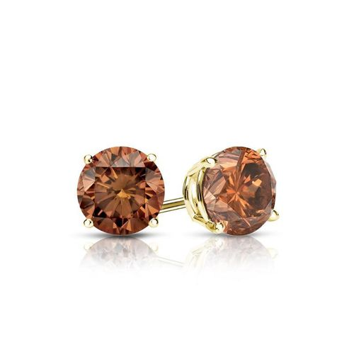 Diamantohrstecker 0.50 Ct cognac Diamanten 585 14K Gelbgold