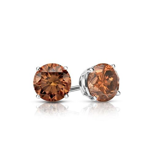 Diamant Ohrstecker 0.50 Ct cognac Diamanten 585 14K Weißgold
