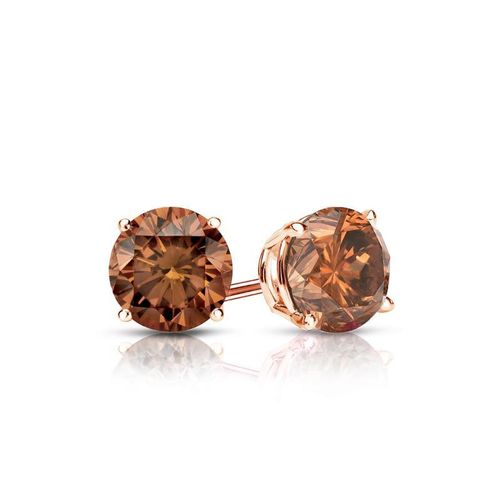 Diamantohrstecker 0.50 Ct cognac Diamanten 585 14K Roségold