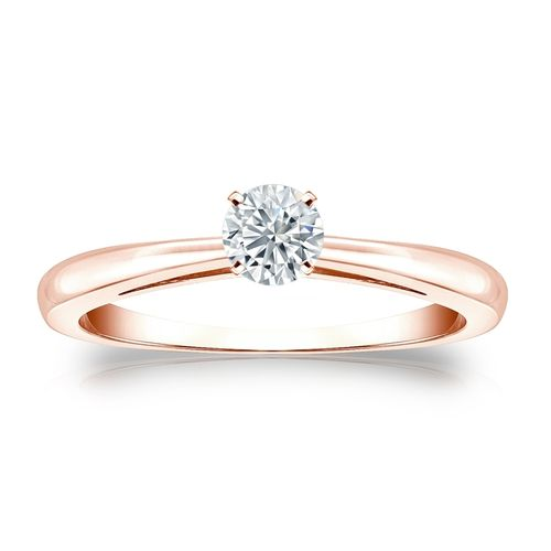 Diamantring Roségold 585 14K, 0.25 Ct Solitär Brillant