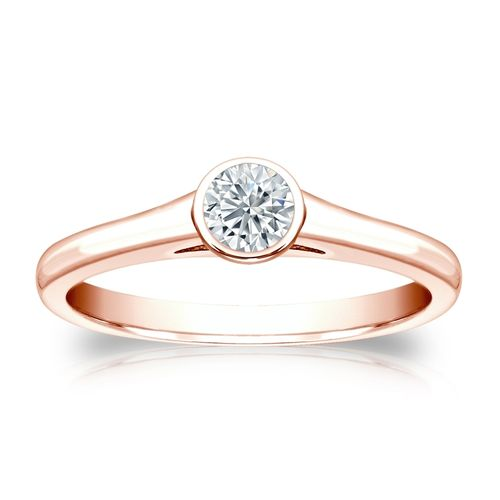 Diamant Ring Roségold 585 14K, 0.25 Ct Solitär Brillant