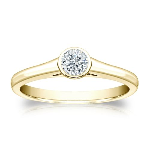 Diamant Ring Gelbgold 585 14K, 0.25 Ct Solitär Brillant