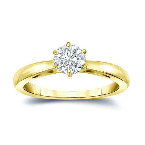 Diamantring Gelbgold 14K 585, 0.25 Ct Solitär Brillant