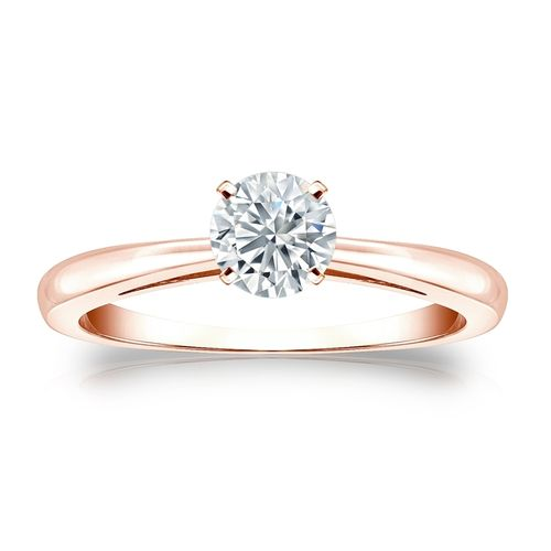 Diamant-Ring Roségold 585, 0.40 Ct Brillant GIA zertifiziert